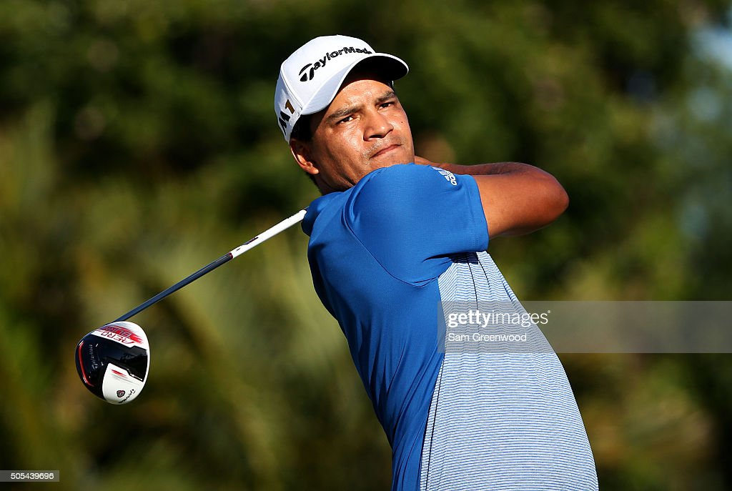 Fabian Gomez of Argentina plays his shot from the 15th tee during the final round of the Sony Open In Hawaii at Waialae Country Club on January 17...