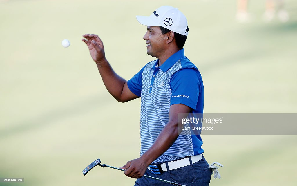 Fabian Gomez of Argentina reacts on the 18th green during a playoff in the final round of the Sony Open In Hawaii at Waialae Country Club on January...