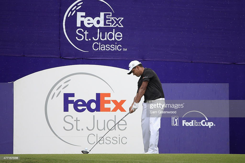 Fabian Gomez of Argentina tees off on the 17th hole during the final round of the FedEx St Jude Classic at TPC Southwind on June 14 2015 in Memphis...