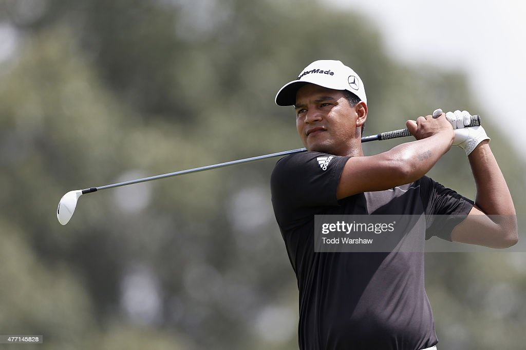 Fabian Gomez of Argentina tees off on the 9th hole during the final round of the FedEx St Jude Classic at TPC Southwind on June 14 2015 in Memphis...