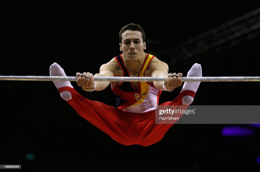 Fabian Gonzalez of Spain in action on the vault during the Gymnastics Trampoline Olympic Qualification round at North Greenwich Arena on January 13, 2012 in London, England.