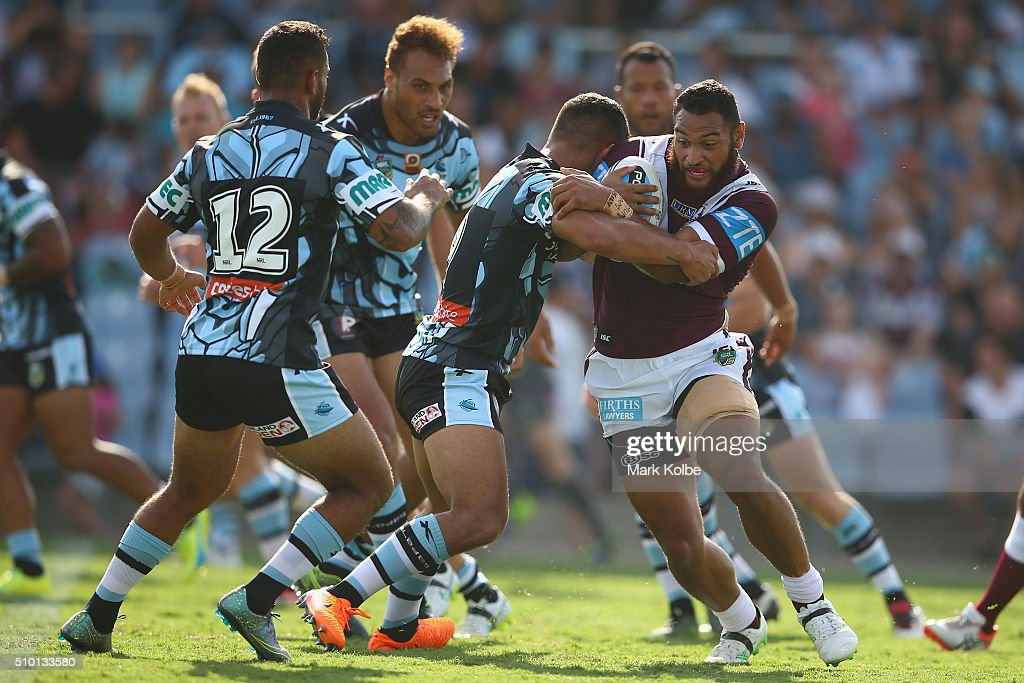 Fabian Goodall of the Eagles is tackled during the NRL Trial match between the Cronulla Sharks and the Manly Sea Eagles at Remondis Stadium on February 14, 2016 in Sydney, Australia.