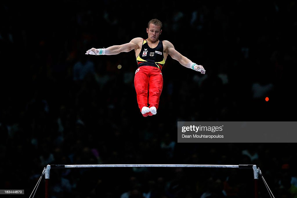 Fabian Hambuchen of Germany competes during the Horizontal Bar Final on Day Seven of the Artistic Gymnastics World Championships Belgium 2013 held at the Antwerp Sports Palace on October 6, 2013 in Antwerpen, Belgium.