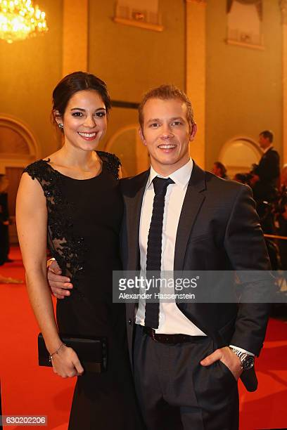 Fabian Hambuechen arrives with Marcia Ev for the Sportler des Jahres 2016 gala at Kurhaus BadenBaden on December 18 2016 in BadenBaden Germany