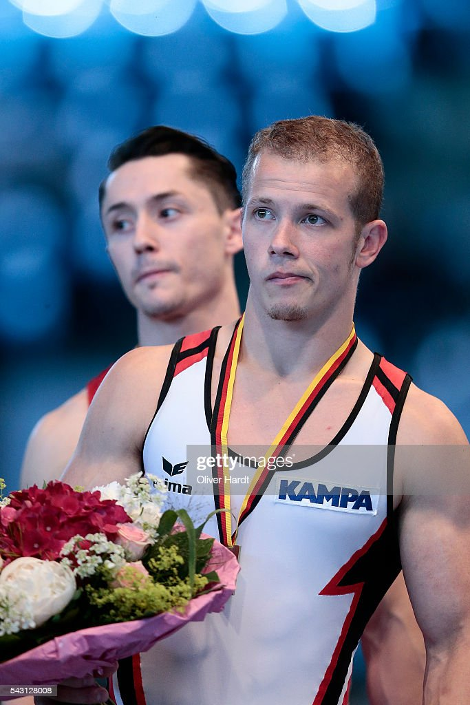 <a gi-track='captionPersonalityLinkClicked' href=/galleries/search?phrase=Fabian+Hambuechen&family=editorial&specificpeople=213637 ng-click='$event.stopPropagation()'>Fabian Hambuechen</a> of Germany celebrate after his first place during the German Gymnastics Championship Day 2 at Sporthalle Hamburg on June 26, 2016 in Hamburg, Germany.