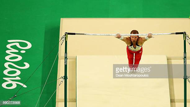 Fabian Hambuechen of Germany cometes on the Horizontal Bar on Day 11 of the Rio 2016 Olympic Games at the Rio Olympic Arena on August 16 2016 in Rio...