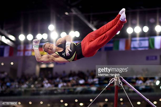 Fabian Hambuechen of Germany competes in the Men's Horizontal Bar final on day eight of the Baku 2015 European Games at the National Gymnastics Arena...