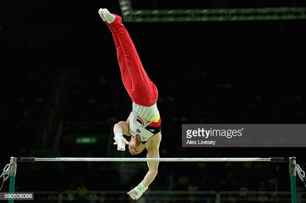 Fabian Hambuechen of Germany competes on the Horizontal Bar on Day 11 of the Rio 2016 Olympic Games at the Rio Olympic Arena on August 16 2016 in Rio...