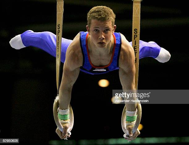 Fabian Hambuechen of Germany performs on the Rings during the International German Gymnastics Festival on May 19 2005 in Berlin Germany