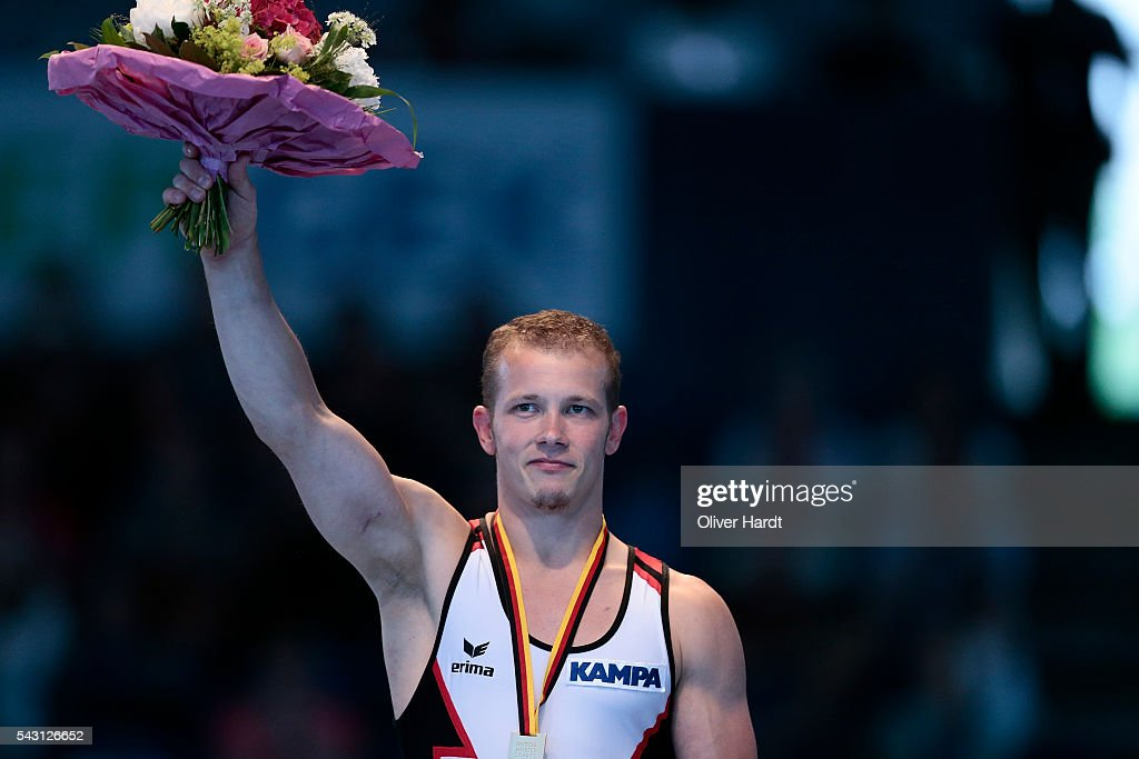 Fabian Hambuechen with first place of Germany pose with their medal after winning the German Gymnastics Championship Day 2 at Sporthalle Hamburg on June 26, 2016 in Hamburg, Germany.
