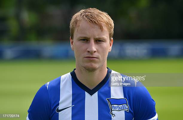 Fabian Holland of Berlin pose during the official Hertha BSC Berlin team presentation at the training ground of the team on June 28 2013 in Berlin...