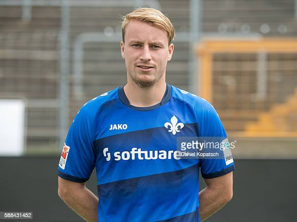 Fabian Holland poses during the Darmstadt 98 Team Presentation on August 11 2016 in Darmstadt Germany