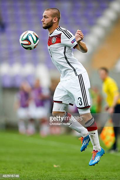 Fabian Holthaus of Germany controls the ball during the UEFA Under19 European Championship match between U19 Germany and U19 Austria at Stadium...