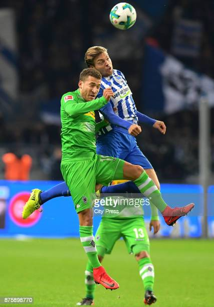 Fabian Johnson of Borussia Moenchengladbach and Alexander Esswein of Hertha BSC during the game between Hertha BSC and Borussia Moecnhengladbach on...
