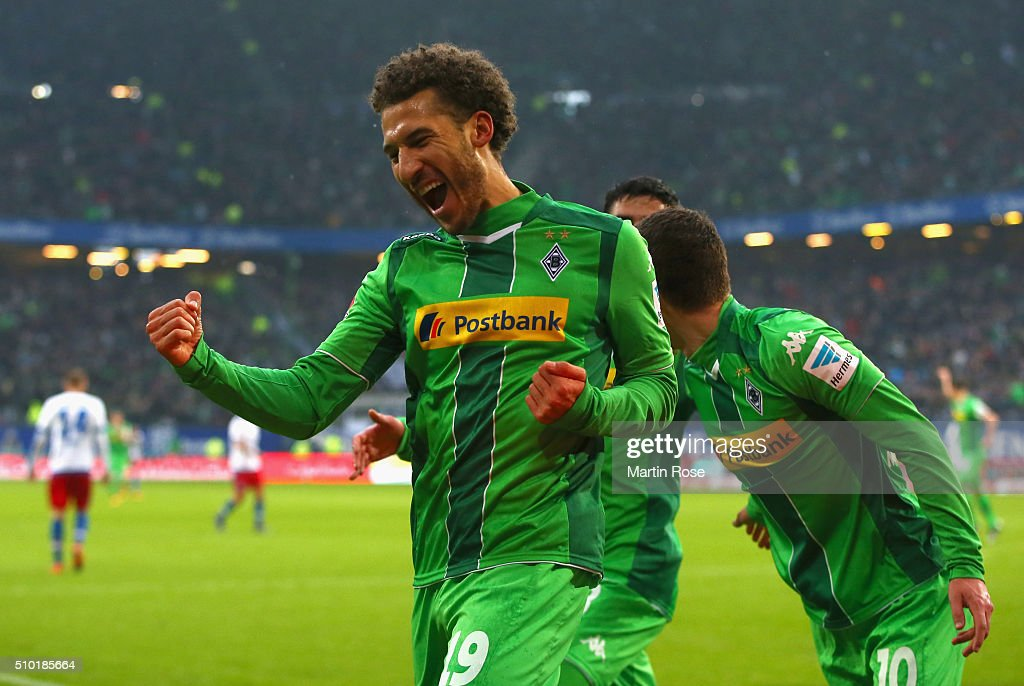 <a gi-track='captionPersonalityLinkClicked' href=/galleries/search?phrase=Fabian+Johnson&family=editorial&specificpeople=677415 ng-click='$event.stopPropagation()'>Fabian Johnson</a> of Borussia Moenchengladbach (19) celebrates as he scores their first goal during the Bundesliga match between Hamburger SV and Borussia Moenchengladbach at Volksparkstadion on February 14, 2016 in Hamburg, Germany.