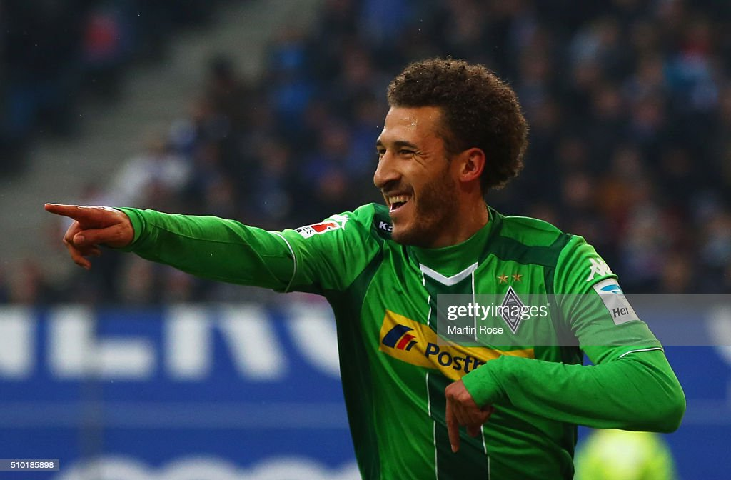 Fabian Johnson of Borussia Moenchengladbach celebrates as he scores their first goal during the Bundesliga match between Hamburger SV and Borussia Moenchengladbach at Volksparkstadion on February 14, 2016 in Hamburg, Germany.