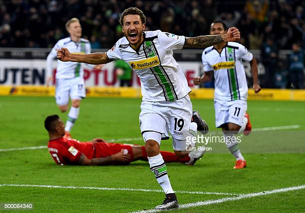 Fabian Johnson of Moenchengladbach celebrates after scoring his teams third goal during the Bundesliga match between Borussia Moenchengladbach and FC...