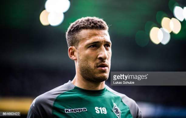 Fabian Johnson of Moenchengladbach looks up prior to the Bundesliga match between Borussia Moenchengladbach and Bayer 04 Leverkusen at BorussiaPark...