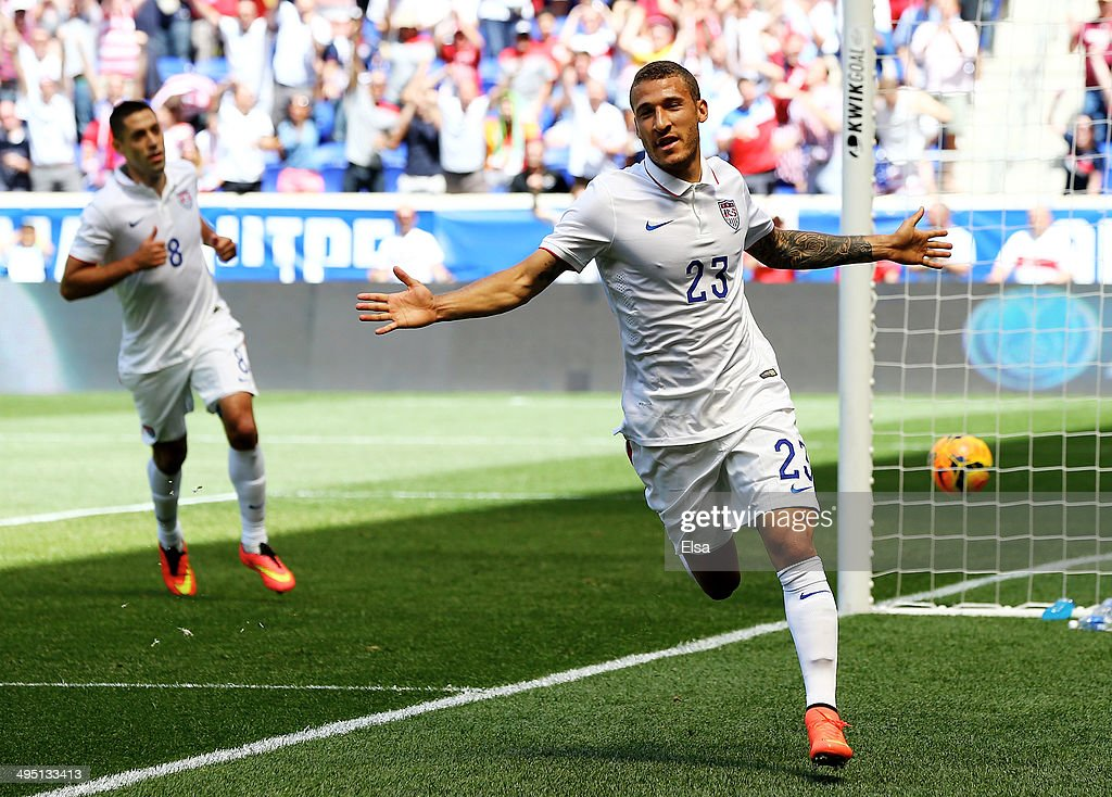 <a gi-track='captionPersonalityLinkClicked' href=/galleries/search?phrase=Fabian+Johnson&family=editorial&specificpeople=677415 ng-click='$event.stopPropagation()'>Fabian Johnson</a> #23 of the United States celebrates his goal in the first half against the Turkey during an international friendly match at Red Bull Arena on June 1, 2014 in Harrison, New Jersey.