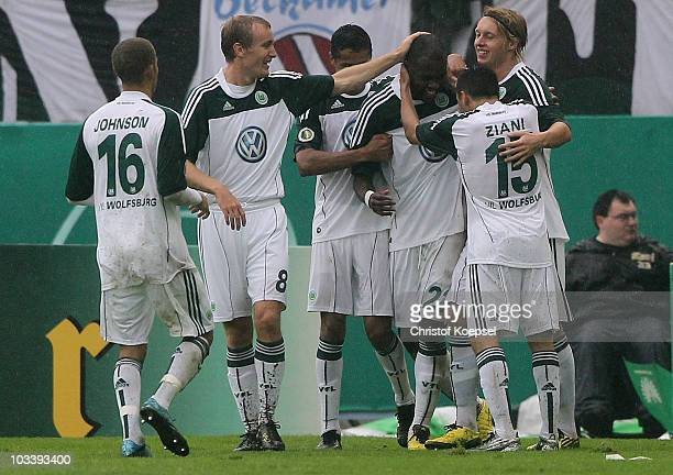 Fabian Johnson Thomas Kahlenberg Cicero Grafite Simon Kjaer and Karim Ziani of Wolfsburg celebrate the second goal during the DFB Cup first round...