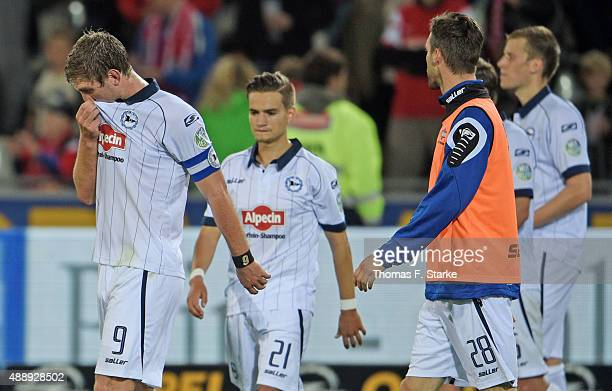 Fabian Klos Amin Affane Koen van der Biezen and Brian Behrendt of Bielefeld look dejected after the Second Bundesliga match between SC Freiburg and...