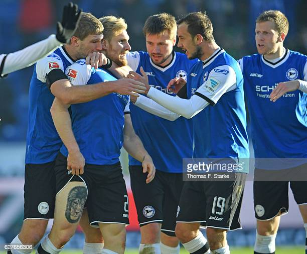 Fabian Klos Andreas Voglsammer Julian Boerner Manuel Prietl and Brian Behrendt of Bielefeld celebrate their first goal during the Second Bundesliga...