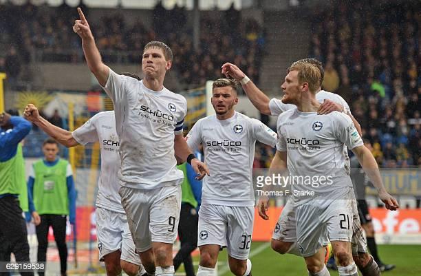 Fabian Klos Keanu Staude and Andreas Voglsammer of Bielefeld celebrate during the Second Bundesliga match between Eintracht Braunschweig and DSC...
