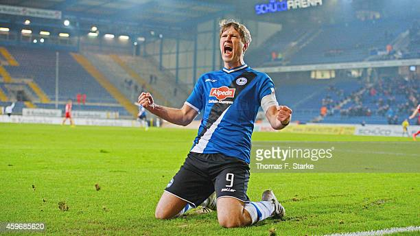 Fabian Klos of Bielefeld celebrates his teams first goal during the Third League match between Arminia Bielefeld and SG Sonnenhof Grossaspach at...