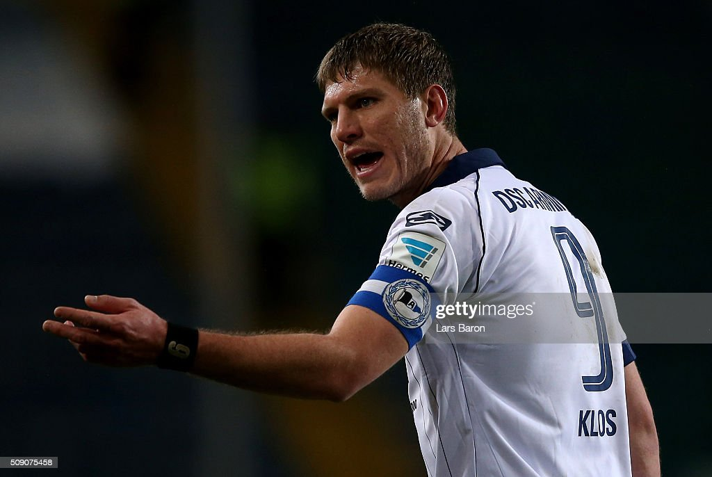 <a gi-track='captionPersonalityLinkClicked' href=/galleries/search?phrase=Fabian+Klos&family=editorial&specificpeople=7658450 ng-click='$event.stopPropagation()'>Fabian Klos</a> of Bielefeld gestures during the Second Bundesliga match between Arminia Bielefeld and MSV Duisburg at Schueco Arena on February 8, 2016 in Bielefeld, Germany.
