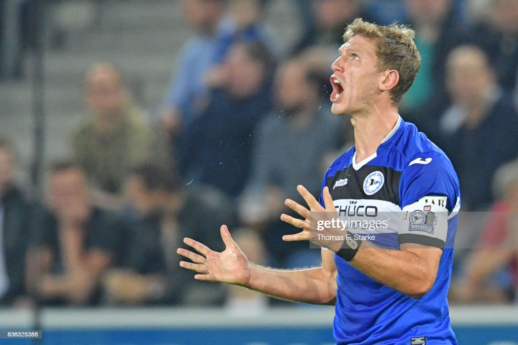 Fabian Klos of Bielefeld reacts during the Second Bundesliga match between DSC Arminia Bielefeld and VfL Bochum 1848 at Schueco Arena on August 21, 2017 in Bielefeld, Germany.