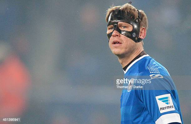 Fabian Klos of Bielefeld wears a protection mask during the Second Bundesliga match between Arminia Bielefeld and VfL Bochum at Schueco Arena on...