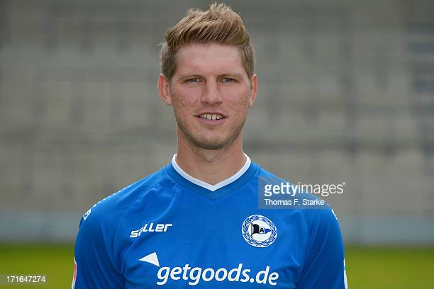 Fabian Klos poses during the Second Bundesliga team presentation of Arminia Bielefeld at Schueco Arena on June 27 2013 in Bielefeld Germany