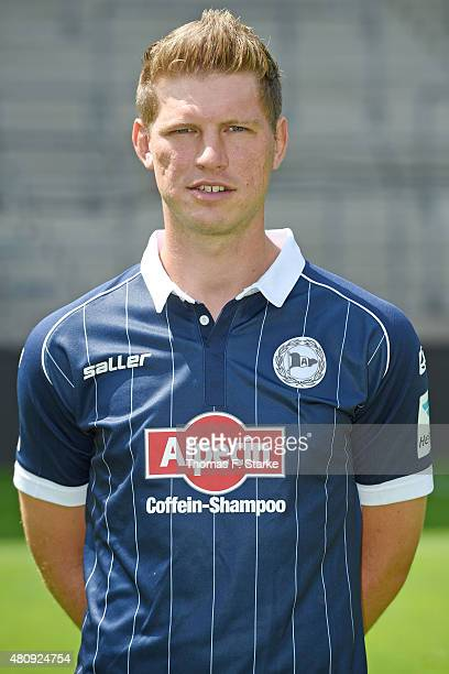 Fabian Klos poses during the Second Bundesliga team presentation of Arminia Bielefeld at Schueco Arena on July 16 2015 in Bielefeld Germany