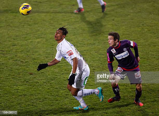 Fabian Koch of Wien challenges Rubin Okotie of Graz during the tipp3 Bundesliga match between Austria Wien and Sturm Graz at Generali Arena on...