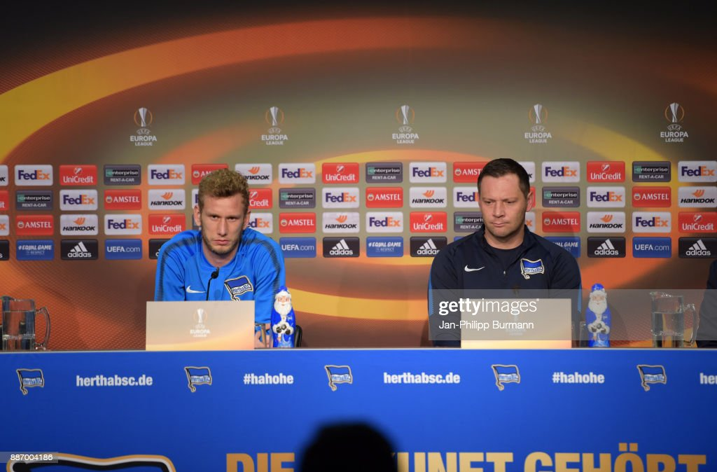 Fabian Lustenberger and coach Pal Dardai of Hertha BSC during the press conference on december 6, 2017 in Berlin, Germany.