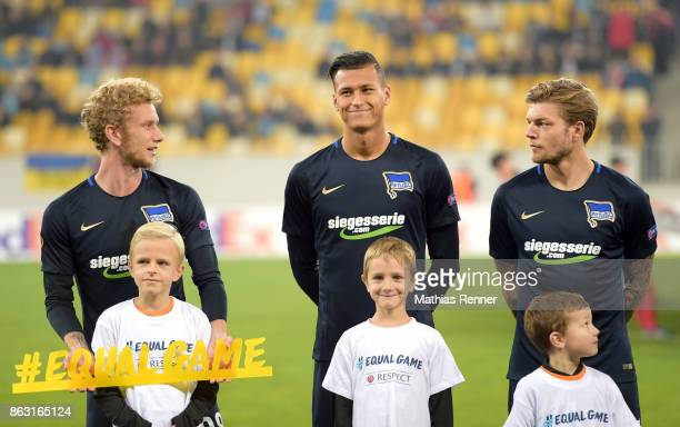 Fabian Lustenberger Davie Selke and Alexander Esswein of Hertha BSC before the Europa League group J game between Zorya Luhansk against Hertha BSC on...