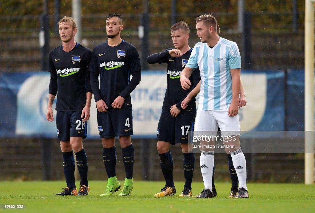 Fabian Lustenberger, Maurice Klehr, Maximilian Mittelstaedt of Hertha BSC and Kevin Gempf of the Polizeiauswahl during the test match between Hertha BSC and the Polizeiauswahl on october 6, 2017 in Berlin, Germany.