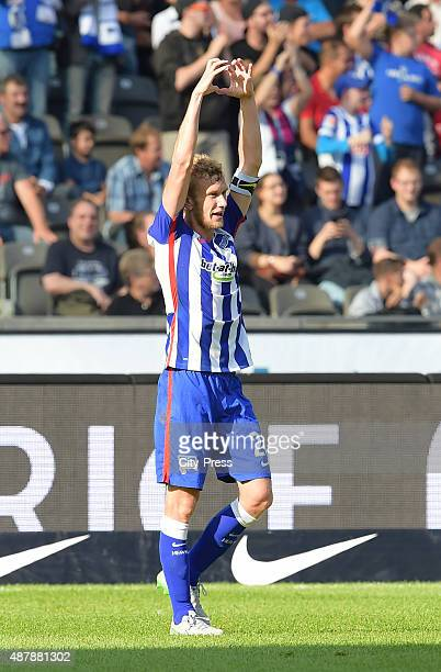 Fabian Lustenberger of Hertha BSC celebrates after scoring the 21 during the Bundesliga match between Hertha BSC and VFB Stuttgart on September 12...
