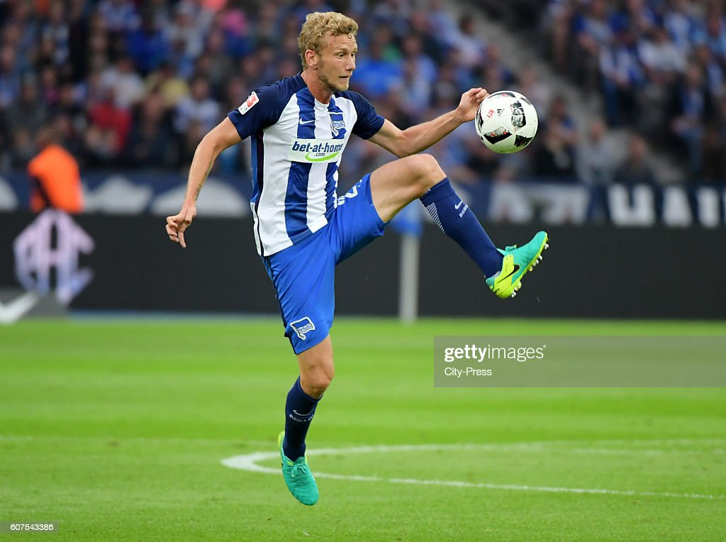 Fabian Lustenberger of Hertha BSC during the game between Hertha BSC and FC Schalke 04 on September 18, 2016 in Berlin, Germany.
