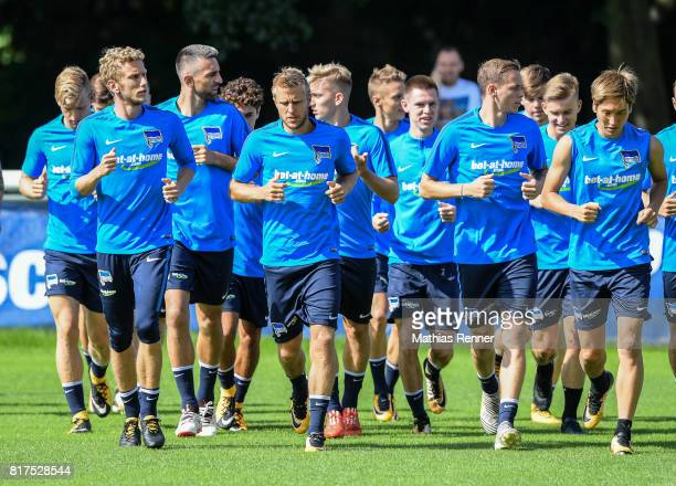 Fabian Lustenberger Per Skjelbred Ondrej Duda and Genki Haraguchi of Hertha BSC during the training on July 18 2017 in Berlin Germany