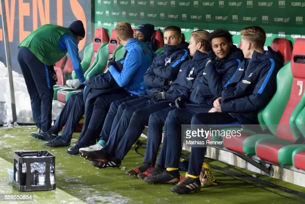 Fabian Lustenberger Salomon Kalou Arne Maier Peter Pekarik Alexander Esswein Valeantino Lazaro and Jonathan Klinsmann of Hertha BSC during the...