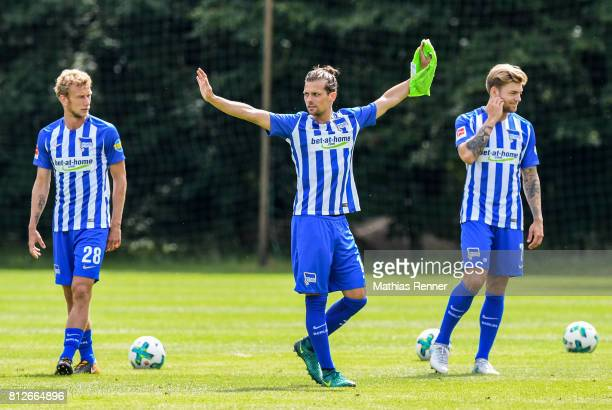 Fabian Lustenberger Valentin Stocker and Alexander Esswein during the training camp of Hertha BSC on july 11 2017 in Bad Saarow Germany