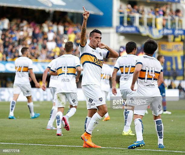 Fabian Monzon of Boca Juniors celebrates after scoring the opening goal during a match between Boca Juniors and Tigre as part of 29th round of Torneo...