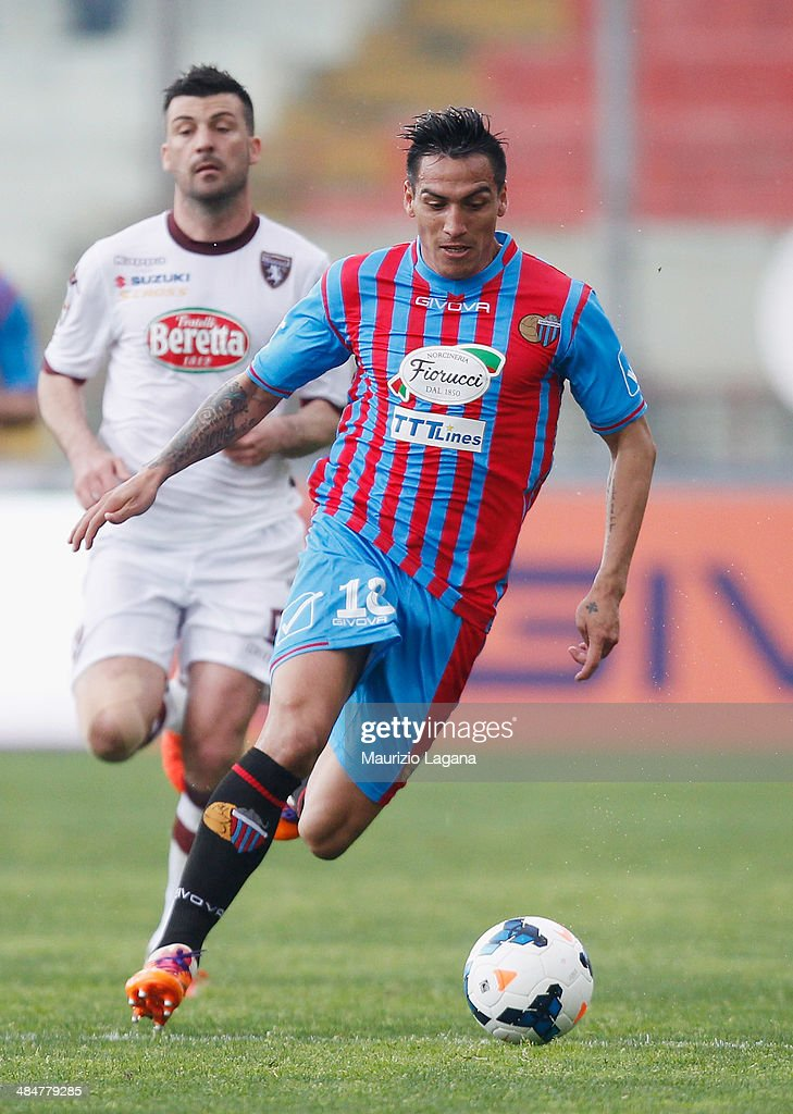 Fabian Monzon of Catania during the Serie A match between Calcio Catania and Torino FC at Stadio Angelo Massimino on April 6, 2014 in Catania, Italy.