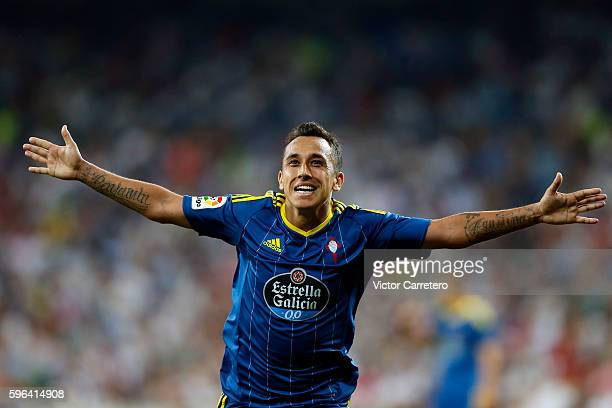 Fabian Orellana of Celta de Vigo celebrates after scoring his team's first goal during the La Liga match between Real Madrid CF and RC Celta de Vigo...