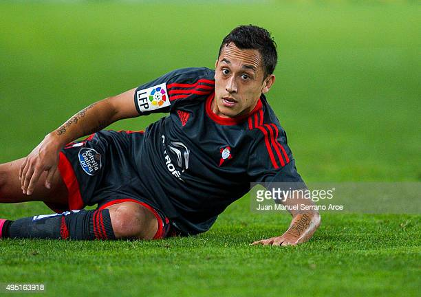 Fabian Orellana of Celta de Vigo reacts during the La Liga match between Real Sociedad de Futbol and Celta de Vigo de Futbol at Estadio Anoeta on...