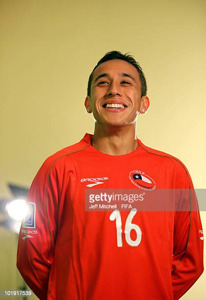Fabian Orellana of Chile poses during the official FIFA World Cup 2010 portrait session on June 8 2010 in Nelspruit South Africa