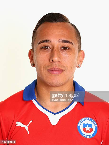 Fabian Orellana of Chile poses during the official FIFA World Cup 2014 portrait session on June 6 2014 in Belo Horizonte Brazil