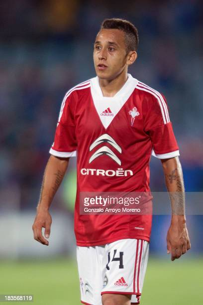 Fabian Orellana of RC Celta de Vigo leaves the pitch after the La Liga match between Getafe CF and RC Celta de Vigo at Coliseum Alfonso Perez on...