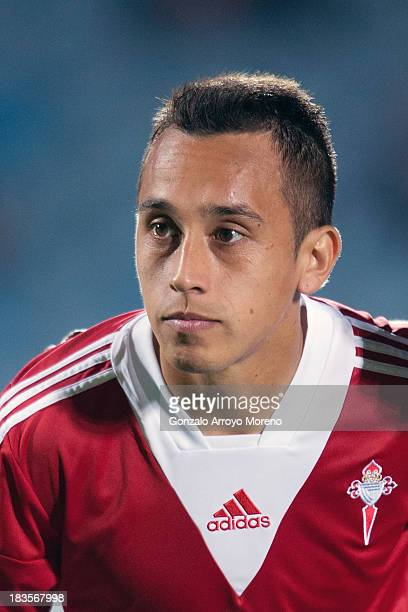 Fabian Orellana of RC Celta de Vigo looks on prior to the start of the La Liga match between Getafe CF and RC Celta de Vigo at Coliseum Alfonso Perez...